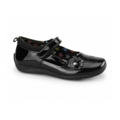 MARA Girls Patent Leather Flower Velcro Mary Jane Shoes Black
