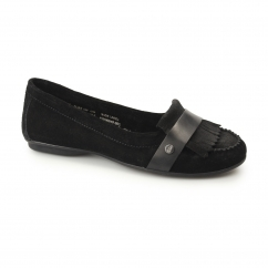 Hush Puppies MESSITT ROBYN Ladies Suede Leather Loafers Black