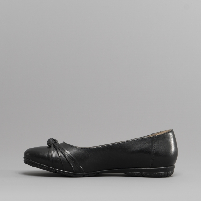 19f37bc273138 Hush Puppies MILLIE Ladies Leather Ballerina Shoes Black | Shuperb