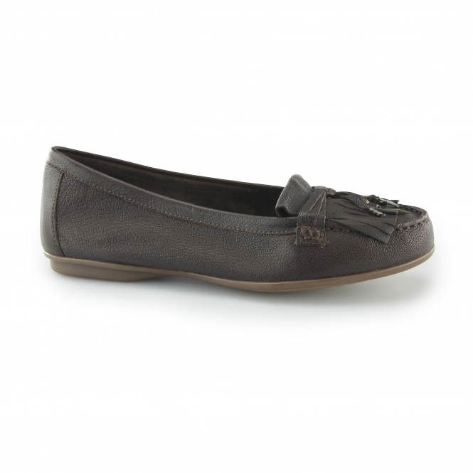 NAVEEN ROBYN Ladies Leather Loafer Flats Brown