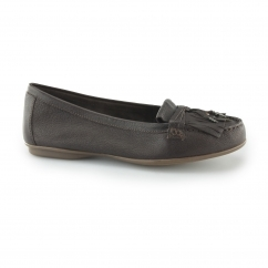 Hush Puppies NAVEEN ROBYN Ladies Slip On Loafer Shoes Brown