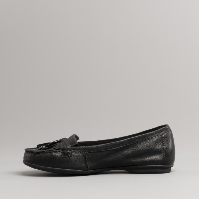 Hush Puppies NAVEEN ROBYN Ladies Women Leather Tassel Slip On Loafer Flats Black