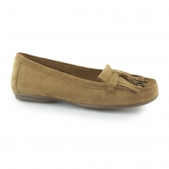 Hush Puppies NAVEEN ROBYN Ladies Slip On Loafer Shoes Camel