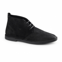 Hush Puppies NOLTON Mens Suede Cushioned Desert Boots Black
