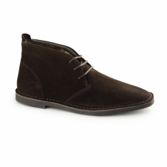 Hush Puppies NOLTON Mens Suede Cushioned Desert Boots Chocolate