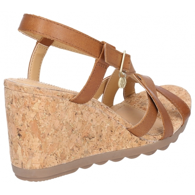 bf1136bfd1379 Hush Puppies PEKINGESE STRAPPY Ladies Leather Wedge Sandals Tan ...