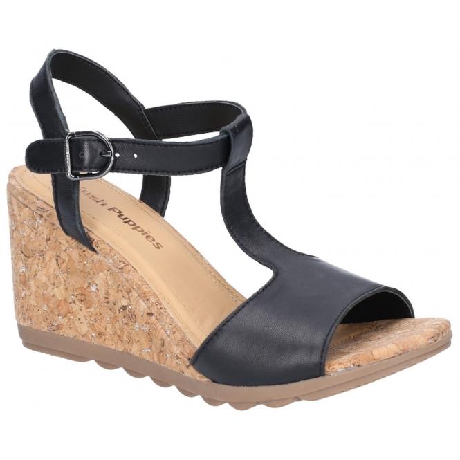 d2def436466e0 Hush Puppies PEKINGESE TSTRAP Ladies Leather Wedge Sandals Black | Shuperb