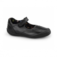 RINA Girls Leather Velcro Mary Jane Shoes Black