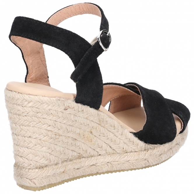 7b5f1320a3d SASHA Ladies Suede Wedge Sandals Black