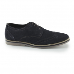 SEBASTIAN WINGTIP Mens Suede Leather Casual Brogues Navy