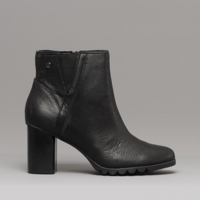 567c52830cab Hush Puppies SPANIEL Ladies Leather Ankle Boots Black