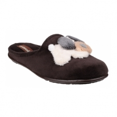 HYDE Ladies Novelty Dog Mule Slippers Brown