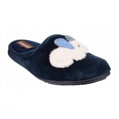 HYDE Ladies Novelty Rabbit Mule Slippers Blue