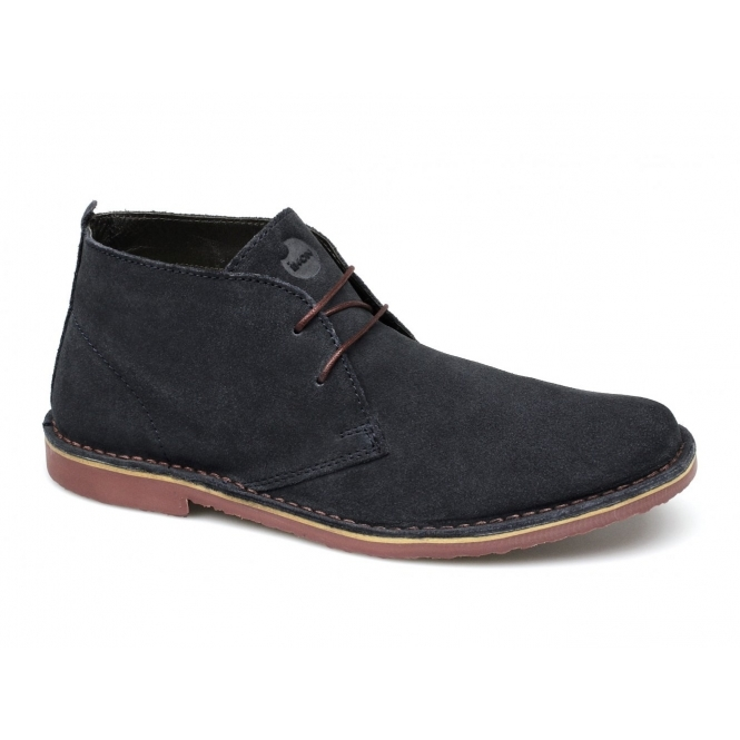 Ikon A.K. Mens Suede Lace-Up Desert Boots Navy