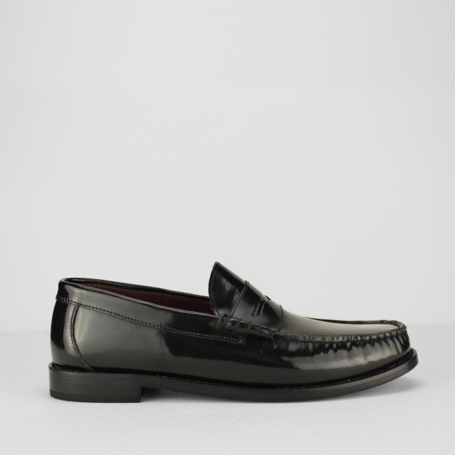 494928126a8 IKON ALBION Mens Polished Leather Loafer Shoes Black