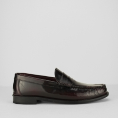 ALBION Mens Polished Leather Loafer Shoes Burgundy