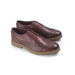 ALMOND Mens Leather Brogue Shoes Burnished Burgundy