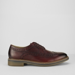 BARLEY Mens Leather Lace-Up Brogue Shoes Burgundy