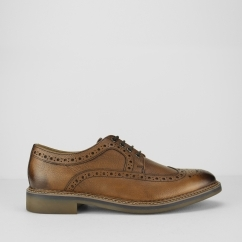 Ikon BARLEY Mens Leather Lace-Up Brogue Shoes Tan