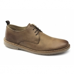 BENJAMIN Mens Leather Lace-Up Shoes Tan