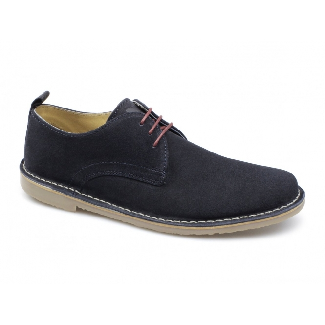 Ikon BENJAMIN Mens Suede Lace-Up Shoes Navy
