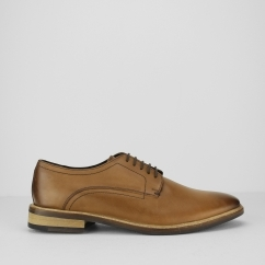 Ikon CONRAD Mens Lace Derby Smart-Casual Leather Shoes Tan