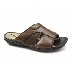 DEVON Mens Leather Mule Sandals Brown