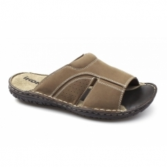 DEVON Mens Leather Nubuck Mule Sandals Tan