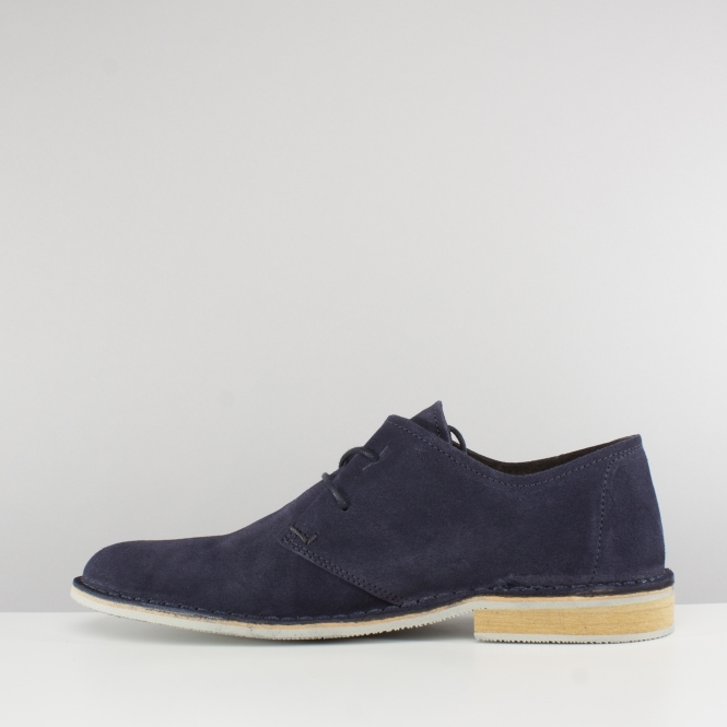 e1f3df87bb7a Ikon FRANKLIN Mens Suede Leather Lace Derby Shoes Navy Blue | Shuperb