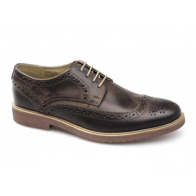 Ikon HAZEL Mens Leather Lace-Up Brogue Shoes Brown
