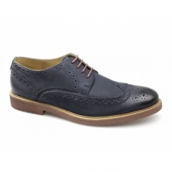 HAZEL Mens Leather Lace-Up Brogue Shoes Navy
