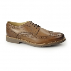 Ikon HAZEL Mens Leather Lace-Up Brogue Shoes Tan New