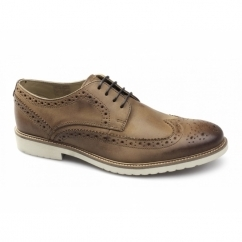 HAZEL Mens Leather Lace-Up Brogue Shoes Tan