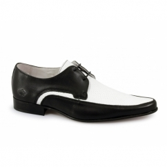 JAM Mens Leather Pointed Shoes Black & White