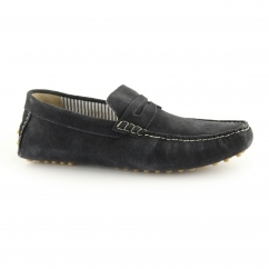Ikon JENSON Mens Suede Slip On Moccasin Driving Loafers Navy
