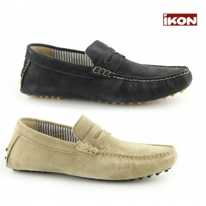 a6276ad8cd6 Ikon JENSON Mens Suede Slip On Moccasin Driving Loafers Navy