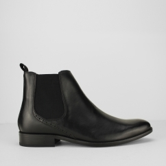 Ikon JERRY Mens Leather Pull On Chelsea Boots Black