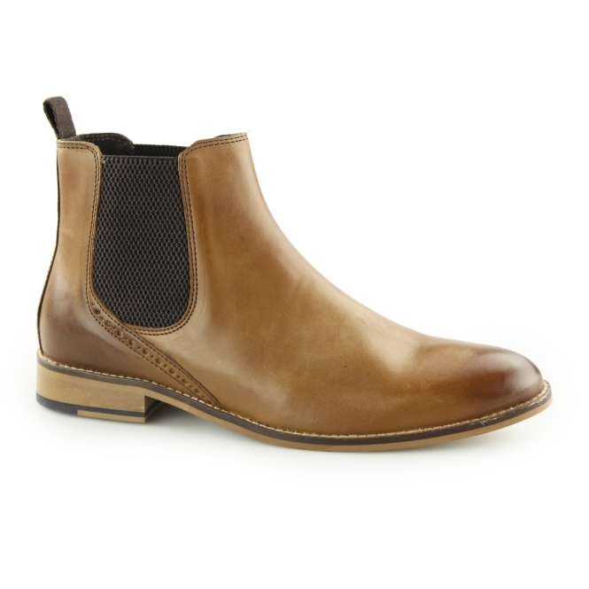 JERRY Mens Leather Chelsea Boots Tan