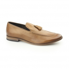 KENT Mens Leather Tassel Loafers Tan