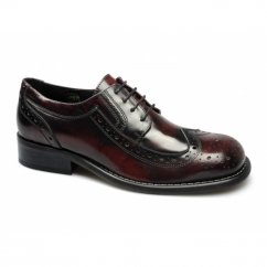 KROMBY Mens Lace Up Leather Brogue Shoes Oxblood