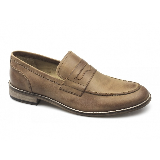 Ikon MARNER Mens Leather Penny Loafers Tan