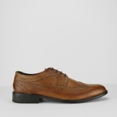Ikon MARSTON Mens Smart Casual Wing-Tip Leather Brogues Tan