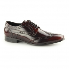 NOLAN Mens Hi Shine Leather Lace Up Derby Brogues Bordo