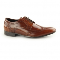 NOLAN Mens Hi Shine Leather Lace Up Derby Brogues Tan