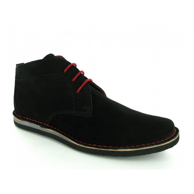 Ikon NOMAD Mens 3 Eyelet Suede Desert Boots Black And Red