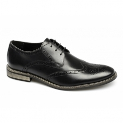PACE Mens Florida Leather Lace-Up Brogue Shoes Black