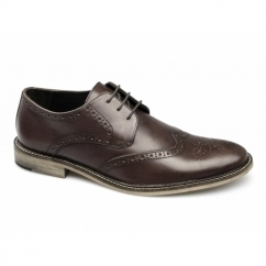 PACE Mens Florida Leather Lace-Up Brogue Shoes Brown