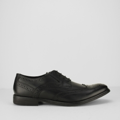 Ikon PARKER Mens Smart Casual Wing-Tip Leather Brogues Black