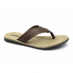 POOLE Mens Leather Toe Post Flip Flops Tan