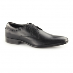 PULLMAN Mens Leather Lace Up Derby Shoes Black